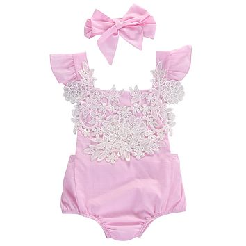 Cute Newborn Baby Girls Bodysuit Lace Floral Pink Bodysuit Jumpsuit+Headband Outfits Sunsuit Clothes