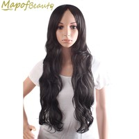 "black dark brown 3 colors Synthetic hair 28"" long wavy Heat Resistant Cosplay Wigs Halloween Costume Party Ladies MapofBeauty"