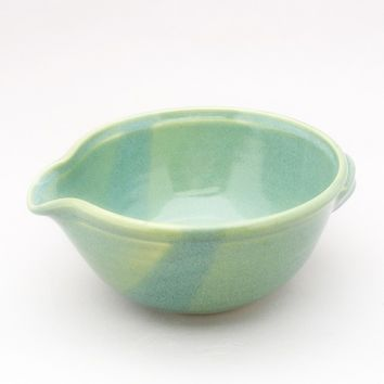 Pottery Batter Bowl with Comfortable Handles Added to the Back for Pouring and Finished in a Pearl Green Glaze