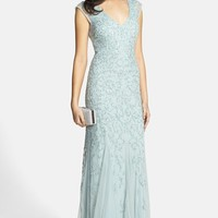 Women's Aidan Mattox Beaded Cap Sleeve Gown