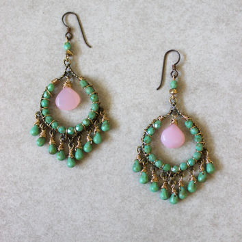 Pink green earrings, chalcedony, glass beads, wire wrapped, all handmade. Hypoallergenic.