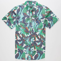 Rvca Jungle Leaves Mens Shirt Multi  In Sizes