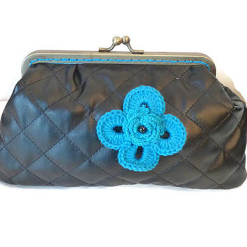 Metal frame Coin Purse in  Black Quilted Fabric / Padded Make up Pouch / Make up Case with crochet flower