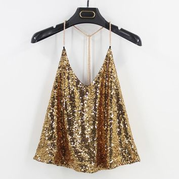 Metal Chain Straps V Neck Y Type Loose Sequined Women Top Bling Backless Night Club DJ Dancer Top Singlet