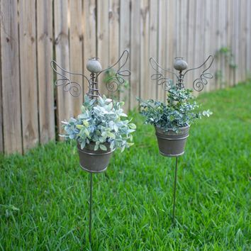 Set of 2 Angel Yard Stakes With Clay Pots