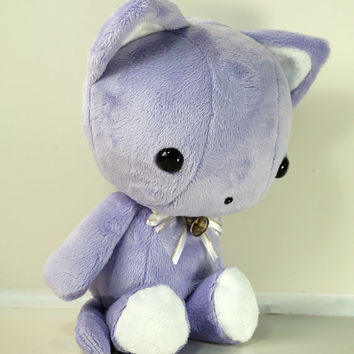 Cute Bellzi Stuffed Animal Purple w/ White Contrast Cat Plushie Doll - Kitti