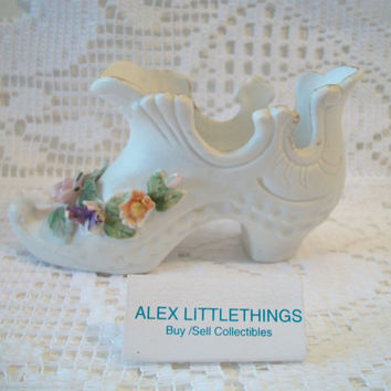 Vintage Lefton Porcelain Victorian Shoe Figurine Floral Slipper Flower Collectible Shabby Chic