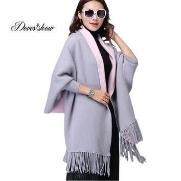 Women's Long Wool Sweaters Jacket Thick Cloak Open Stitch Tassel Shawl Jacket Ladies Fashion Casual Loose Autumn Winter Jacket