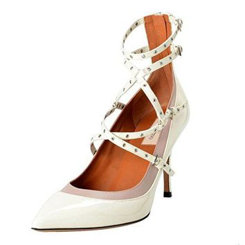 Valentino Garavani Women's Off White Ankle Strap Pumps Shoes US 10.5 IT 11 EU 41