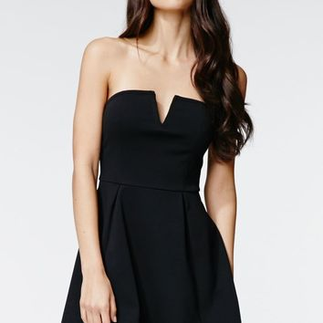 Kendall & Kylie Strapless V-Neck Dress - Womens Dress - Anthracite