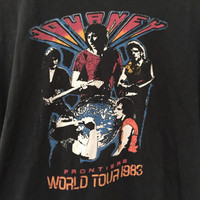 Journey Frontiers Tour Tshirt 1983 Vintage Journey Shirt, 80s Concert Tee Shirt, Rock n Roll, Black Short Sleeve Cotton Tshirt Journey Tee L