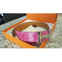WOW 100% Auth Hermes Pink Crocodile/Alligator Belt 90 w/ Silver Buckle $4250