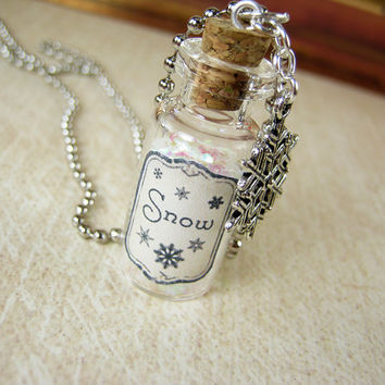 Bottle of Snow 2ml Glass Vial - Glass Bottle Necklace Pendant Charm - Snowflake Glitter Winter Snowy White
