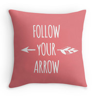 Coral Follow Your Arrow Decorative Throw Pillow Cover