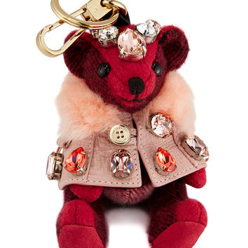 Burberry Thomas Cape Bear Bag Charm, Fuchsia Pink