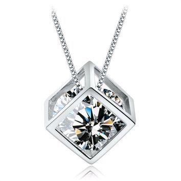 Tomtosh New fashion Dolphin Pendant crystal fashion magic cube necklace chain charming fashion accessories and jewelry party