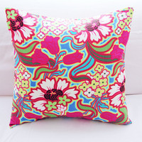 Vibrant Flower Pillow Slipcover in Amy Butler Fabric 18x18 Square Envelope