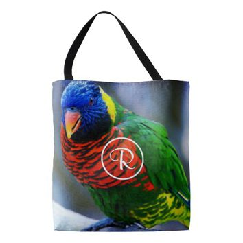 Bright, vivid bird photo custom monogram tote bag