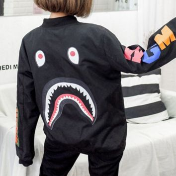 BAPE SHARK Women Men Personality SHARK Print long Sleeve Jacket Coat