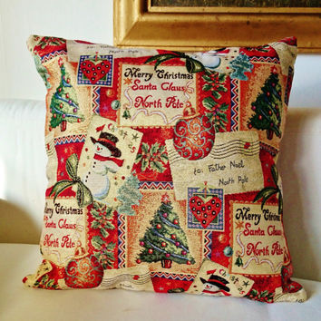 Chrismas decorative cushion,  weaved picture with golden thread, Cover in brocade, insert sold apart.