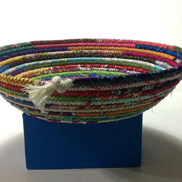 Shallow Multi Colored Coiled rope Bowl, Fabric Bowl, Catchall Basket, Organizer Basket, Quiltsy Handmade