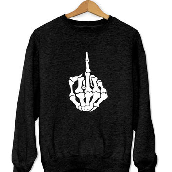 Middle finger sweatshirt gray crewneck for womens girls jumper funny slogan saying fashion tumblr dope swag fresh