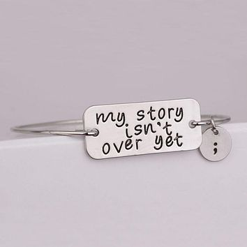My story isn't over yet semicolon bangle bracelet or necklace