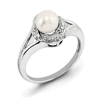 925 Sterling Silver Freshwater Pearl diamond Ring