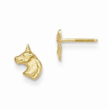 14k Yellow Gold Unicorn Post Earrings