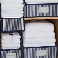Collapsible Striped Linen Closet Storage Collection