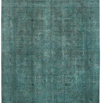 """9'11"""" x 13'1"""" Green Vintage Persian Overdyed Rug"""