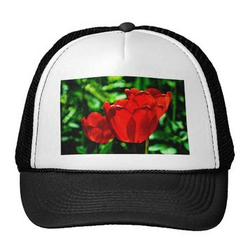 Red tulip flowers trucker hat