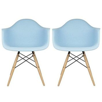 2xhome - Set of Two (2) Blue - Eames Style Armchair Natural Wood Legs Eiffel Dining Room Chair - Lounge Chair Arm Chair Arms Chairs Seats Wooden Wood Leg Wire Leg Dowel Leg Legged Base Chrome Metal Eifel Molded Plastic
