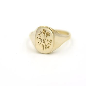 Wildflower Signet Ring