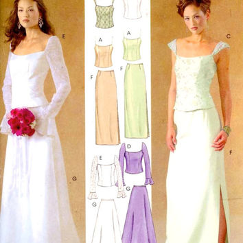 Wedding skirt top pattern Brides Evening wear outfits sewing pattern McCalls 4298 Sz 4 to 10 Uncut