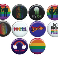 Queer Gay Lesbian LGBT Pride 10 Pinback Buttons Badges Pins Set 44mm 1.75""