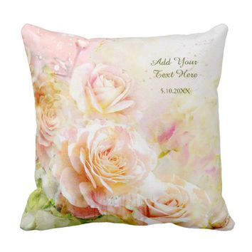Soft Blush Watercolor Rose Floral Throw Pillow
