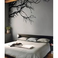 "Stickerbrand© Nature Vinyl Wall Art Tree Top Branches Wall Decal Sticker - Black, 44"" x 100"", Left to Right. Easy to Apply & Removable."