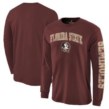 Men's Fanatics Branded Garnet Florida State Seminoles Distressed Arch Over Logo Long Sleeve Hit T-Shirt