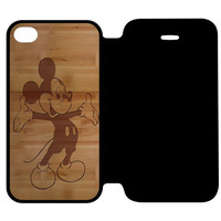 Mickey Mouse Wooden iPhone 4 | 4S Flip Case Cover