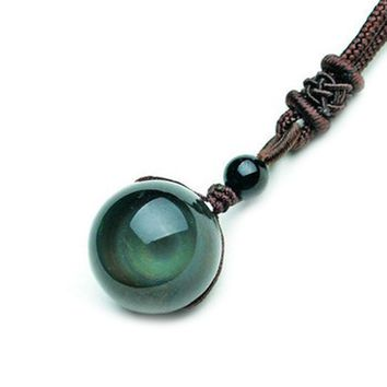 Vintage Shining Lucky Stone Black Crystal Bead Rainbow Eye Gloss Pendant Blessing Obsidian Necklace