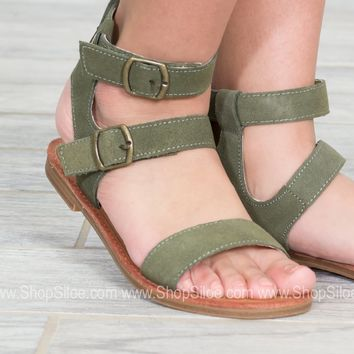 Boho Green Ankle Sandals