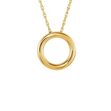 Polished 15mm Circle Necklace in 14k Yellow Gold, 18 Inch