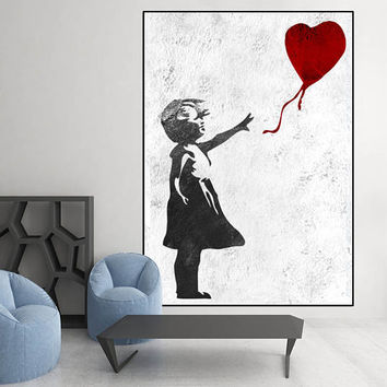 extra large wall art, Banksy Red Balloon Girl, large abstract painting on canvas, original abstract Painting,  Banksy Graffiti Art