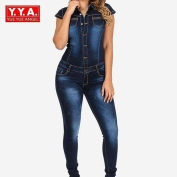 DCCKON3 long pants denim Women jean jumpsuit short sleeve slim fit jumpsuit for woman elegant female button plus size