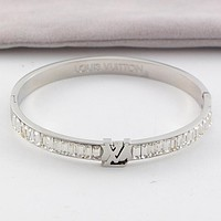 LV Louis Vuitton New Popular Women Personality Stainless Steel Crystal Bracelet Jewelry Silvery I-HLYS-SP
