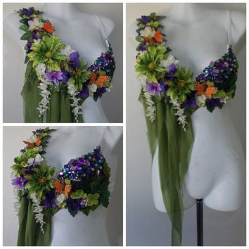Fairy Top- Rave Bra, Flowers, Green Fabric