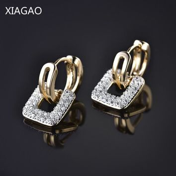 XIAGAO Square Ancient Coin Shape Design Unique Jewelry Gold-color AAA CZ  Engagement Hoop Earrings for Women