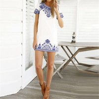 Casual Sexy Tshirt Dress Summer Style Vintage White Blue