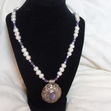 Sterling Amethyst Necklace, On Sale, Baroque Pearl necklace, freshwater, statement jewelry, Gift for her Purple pendant, Gingerslittlegems